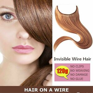 120g One Piece Flip On Wire Flip In Halo Hair Wrap 100%Real Human Hair Extension