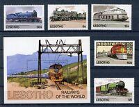 Lesotho MiNr. 484-88 + Block 23 postfrisch MNH Eisenbahn (Eis523
