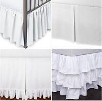 750 TC SPLIT CORNER BED SKIRT SOLID WHITE COTTON CHOOSE TYPE SIZE DROP NEW