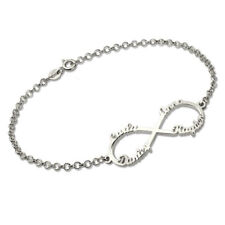 Infinity 4 Names Bracelet Customized Sterling Silver Name Bracelet for Mother