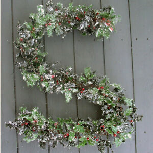 Artificial 150cm Frosted Holly Garland - Premium Quality