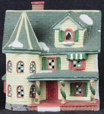 Vintage Christmas Village Yellow Victorian House with Green Roof Porcelain