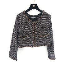 Chanel Tweed Striped Crop Jacket Multicolor M Black Red White