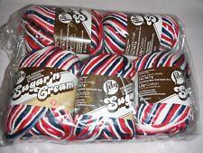"""5 Skeins, Lily, """"Sugar 'N Cream"""", Red, White & Blue, 100% Cotton Yarn"""