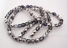 25 6 mm Czech Glass Firepolish Beads: Silver/Blue/Crystal