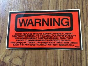 NIFTYLIFT MEWP Warning Decal Sticker P11558 Spare Part New Old Stock