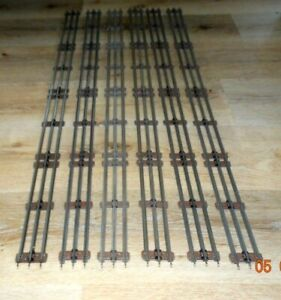 """Vintage Lionel 027 Gauge 35"""" Straight Track Sections (6) with Brown Ties - VG +"""
