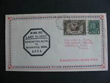 Canada Prairie Air Mail last flight cover Edmonton, Winnipeg  Mar 30 1932