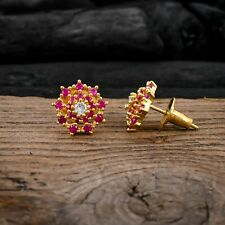 Cubic Zirconia Ruby Stud Earrings Women White CZ Cluster Flower Weeding Jewelry
