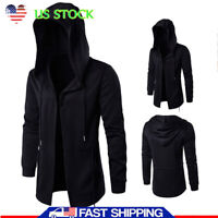 Men's Solid Casual Cloak Cape Cardigan Long Sleeve Autumn Hoodie Coat Jackets US