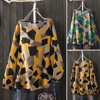 ZANZEA 8-24 Women Long Sleeve Blouse Shirt Tee Ladies Pullover Retro Printed Top