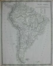 SOUTH AMERICA, original antique map, SDUK, 1844