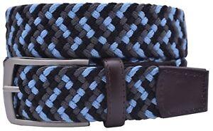 Greg Norman Performance Braided Stretch Belt - Gray/Black/Blue- NEW - 34 - 44