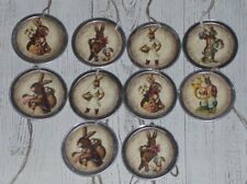 10 Assorted Primitive Vintage Easter Bunny Metal Rim Hang Tags Mini Tree Ornies