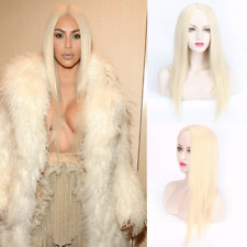 New Kim Kardashian same type Beige cream-colored Long Parted middle women Wig EO