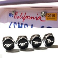 4Pcs Mustang Car License Plate Frame Screw Bolt Cap Cover Screw Bolts Nuts