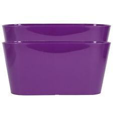 Set De 2 púrpura Oval Interior Maceta cubre plantadores hierba Bateas cajas para ventanas
