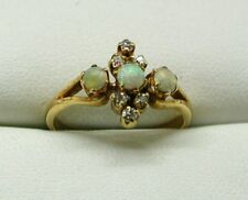 Lovely Antique 18 Carat Gold Opal And Diamond Ring Size M