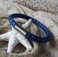 Armband Segeltau 8mm Dunkelblau Mittelblau mit Edelstahl Magnetverschluss