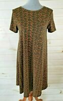 LuLaRoe Carly Size XS Black Gold Geometric Print High-Low Dress - NWT