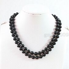 """Round Gemstone Necklace 36"""" Long Aaa 10mm 100% Natural Black Agate Onyx"""