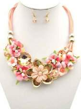 Gold Tone Pink Flower Fashion Necklace