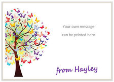 10 Personalised NOTE CARDS & envs, writing paper message BUTTERFLY TREE card