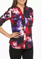Calvin Klein Womens Blouse Black Size Medium M Button-Front Floral $89- 115