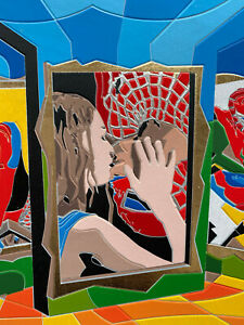 Ugo Nespolo serigrafia 35x35cm SpiderMan bacio novità assoluta artecontemporanea