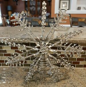New Pottery Barn Silver JEWELED SNOWFLAKE Christmas Holiday Tree Topper