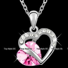 Pink Heart Crystal Necklace Love Women Wife Mother Christmas Gifts For Her GF F6