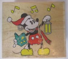 Disney Carolling Mickey Mouse Santa Christmas Rubber Stamp Caroling