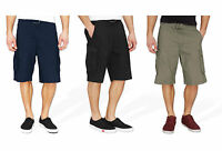 Mens Plain Summer Cargo Shorts Cotton Combat Style Casual Pockets Knee Length