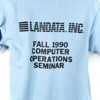 Landata Tech T Shirt Vintage 90s 1990 Computer Operations Made In USA Size Large