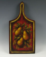 W.C. Wrede Folk Art Hand Painted Wood Cutting Board with Pears Peter Ompir