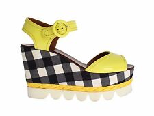 NEW DOLCE & GABBANA Shoes Yellow Leather Check Wedges Platform EU39 / US8.5