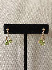 Peridot Earrings 10K Yellow Gold
