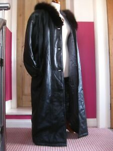 Ladies soft leather full length COAT 16 18 black hood BIGL warm fur collar roomy