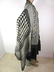 """Johnny Was Large Black White Cotton Check and Stripe Scarf Wrap 48""""X 68"""""""