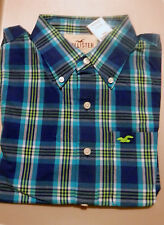 NWT Men Hollister Rockpile Shirt Medium Navy Plaid by Abercrombie Cotton