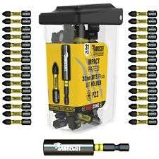 SabreCut Revolution PZ2 Impact Drill Screwdriver Bits Set + Magnetic Holder 31pc