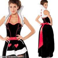 Ladies Longer Length Queen of Hearts Alice in Wonderland Fancy Dress Costume