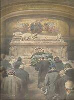 K0994 Fedeli inginocchiati davanti la tomba di Papa Pio XI - Stampa antica