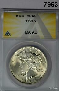 1923 PEACE SILVER DOLLAR ANACS CERTIFIED MS64 FLASHY! #7963