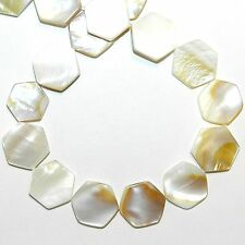 """MP733f Natural White 15mm Flat Hexagon Mother of Pearl Gemstone Shell Beads 16"""""""