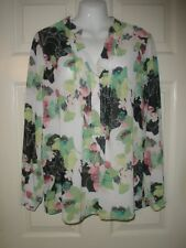 #508 Misses Shirt M Rose & Olive Bright green black Snap Henley Flowing Pretty