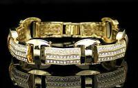 "Men's Luxury Style Bracelet 14k Gold Plated Cz Stones 8.5"" inch Hip Hop"