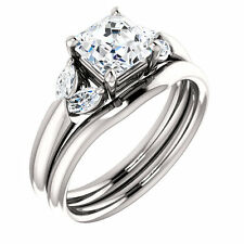 1.40 ct Asscher & Marquise Diamond 1 ct GIA E VS1 Engagement 14k White Gold Ring