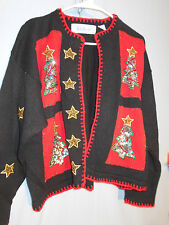 WOMENTS UGLY CHRISTMAS HOLIDAY SWEATER  MEDIUM CARDIGAN BELLEPOINTE STARS TREES