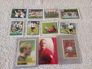 DAVID BECKHAM MAN UTD football cards x 3 + 8 ENGLAND stickers FUTERA MERLIN TOPP